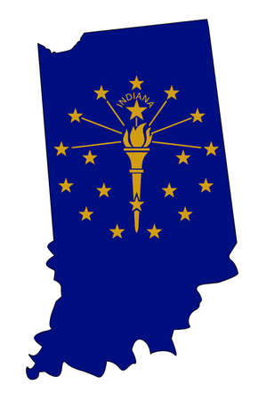 Outline map of the state of Indiana over white with flag inset