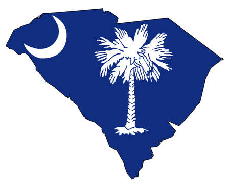 Outline map of the state of South Carolina with map inset 免版税图像 - 83335236