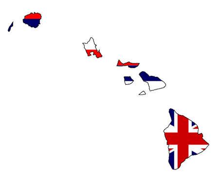 Outline map of the islans of Hawaii over a white background with flag inset