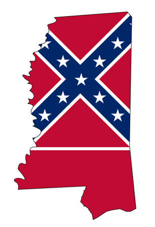 State map outline of Mississippi over a white background with flag inset Illustration