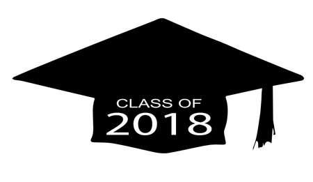 伝説の白い背景の上の 2018年のクラスとキャップ