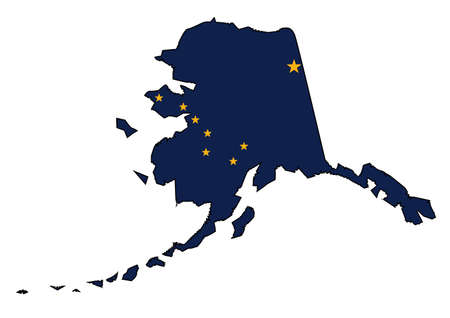 sates: Outline of the state of Alaska isolated with state flag inset