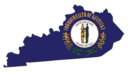 State map outline of Kentucky over a white background with flag inset