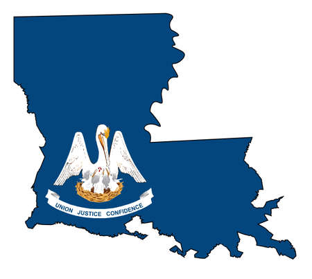State map outline of Louisiana over a white background with flag inset Illustration