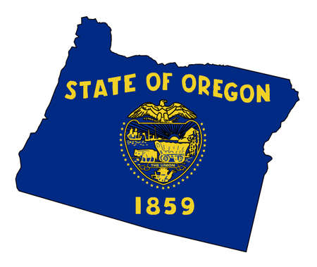 Outline of the state of Oregon isolated with flag inset
