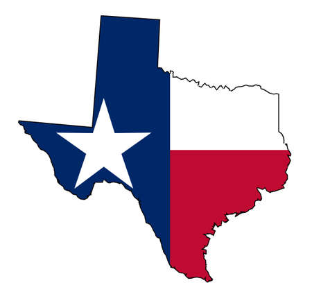 Outline of the state of Texas with flag isolated