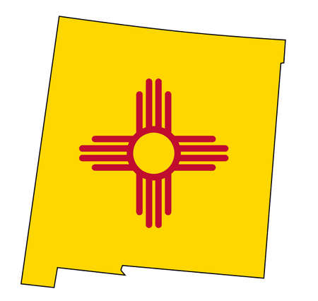 Outline map of the state of New Mexico with flag inset