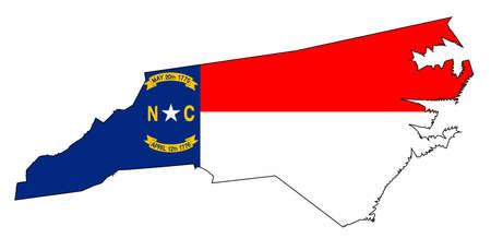 carte muette de l & # 39 ; état de caroline du nord avec le drapeau classé Vecteurs