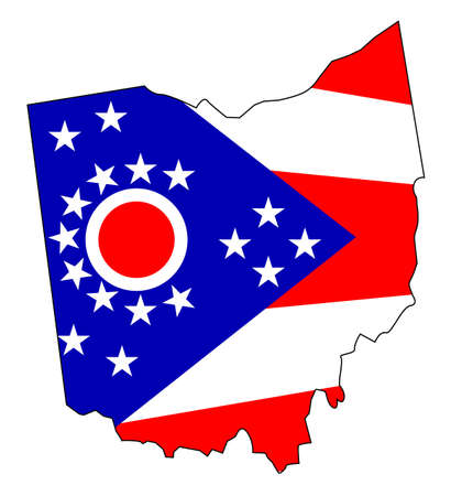 Outline map of the state of Ohio with flag inset 矢量图像