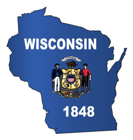Outline map of the American state of Wisconsin with flag inset