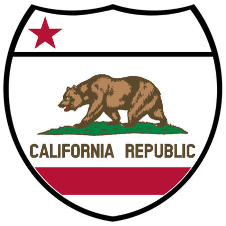 California state flag in an interstate sign over a white background Vetores