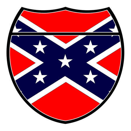 Confederate flag in an interstate sign over a white background Illustration