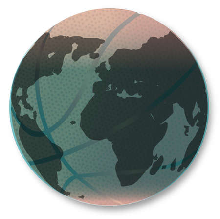A large brown basketball with dimples and Earth globe map isolated on a white background. Illustration