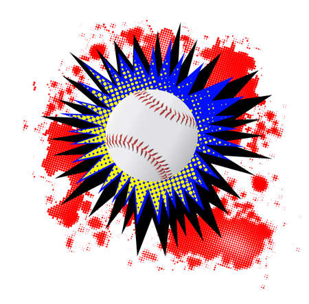 bombing: A comic cartoon style boom explosion with baseball over a white background