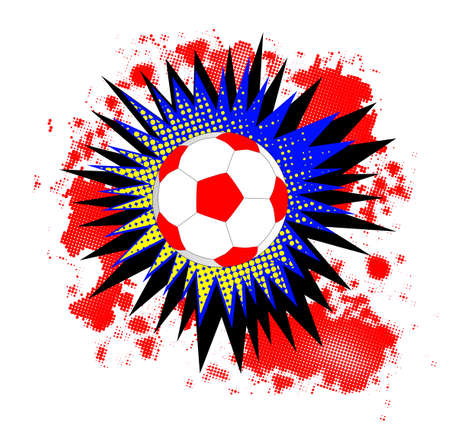 A comic cartoon style boom explosion with soccer ball over a white background
