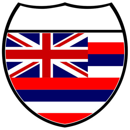 Hawaii state flag in an interstate sign over a white background Illustration