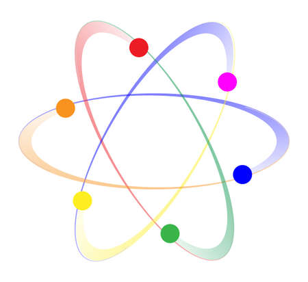 ions: Whirling atoms in the LGBT colours over a white background Illustration