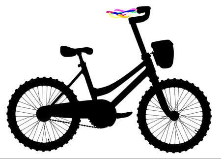 Silhouette di una bicicletta infantile con nastri colorati sulle barre di comando su uno sfondo bianco Archivio Fotografico - 83819433