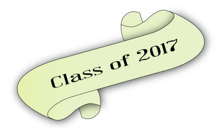 A class of 2017 scroll isolated on white. Иллюстрация