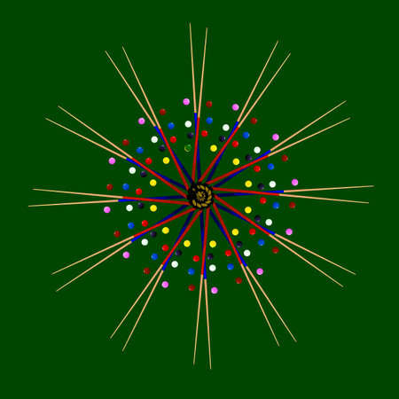 pool cues: Snooker cues with several coloured balls in a circle patter on a green background