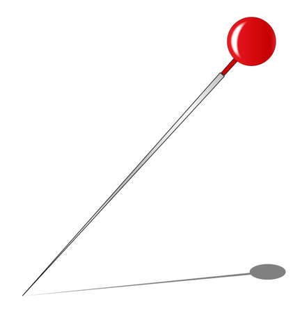 drawing pin: A red knob pin with shadow all over a white background.