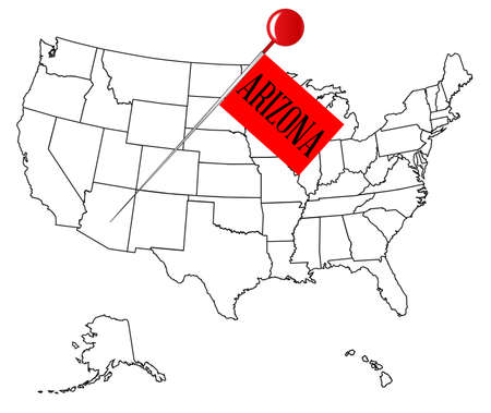 map pin: An outline map of USA with a knob pin in the state of Arizona
