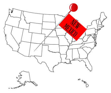 An outline map of USA with a knob pin in the state of New Mexico Illustration