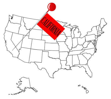 drawing pin: An outline map of USA with a knob pin in the state of California Illustration