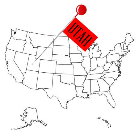 drawing pin: An outline map of USA with a knob pin in the state of Utah