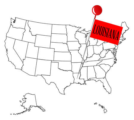 map pin: An outline map of USA with a knob pin in the state of Louisiana