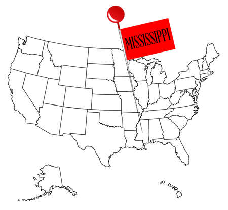An Outline Map Of USA With A Knob Pin In The State Of Mississippi - Blank map of the us with mississipi