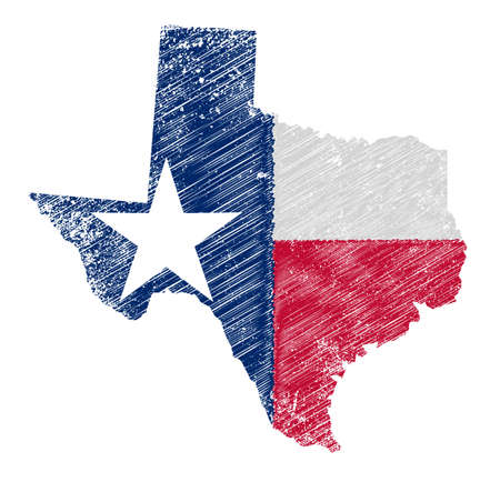 Outline of the state of Texas with flag isolated on a grubge