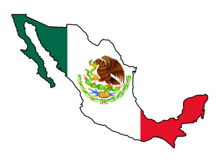 Outline map of Mexico with flag over a white background.
