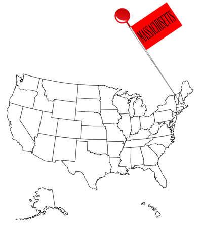 マサチューセッツ州のつまみピンと米国の概略図。