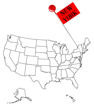An Outline Map Of USA With A Knob Pin In The State Of New York - Usa outline