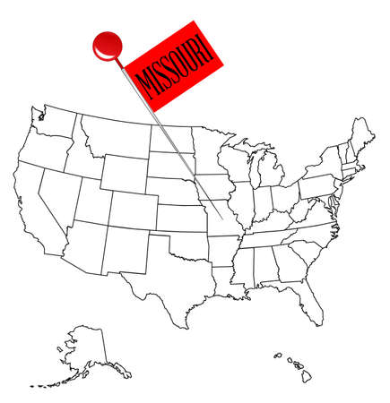 An outline map of USA with a knob pin in the state of Missouri.