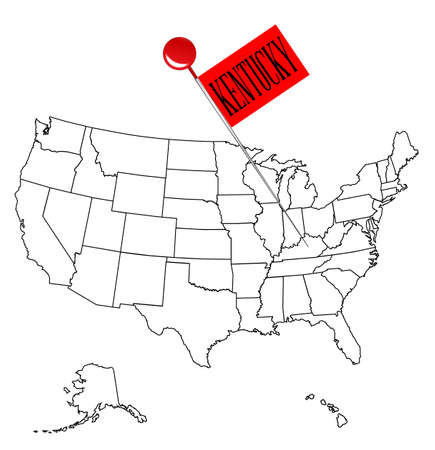 drawing pin: An outline map of USA with a knob pin in the state of Kentucky.