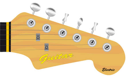 A traditional solid body electric guitar headstock isolated over a white background