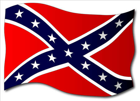 The flag of the confederates during the American Civil War on a white background Ilustração