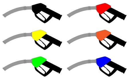 Petrol fuel pump hand grip icons on a white background