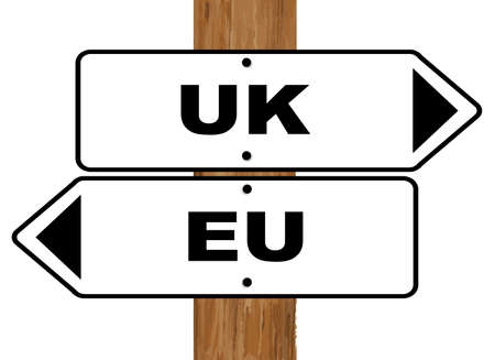 EU and UK brexit signs fixed to a wooden pole over a white background Illustration