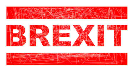 Brexit red ink grunged rubber stamp on a white background