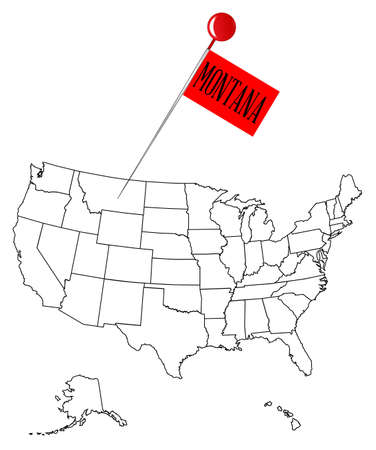 drawing pin: An outline map of USA with a knob pin in the state of Montana