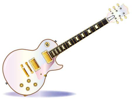 白い背景の上に孤立したパステルピンクの決定的なロックンロールギター。