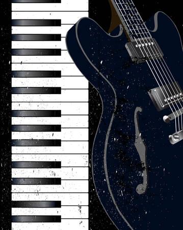 白と黒はピアノの鍵盤とグランジ ジャズ FX とエレク トリック ギター