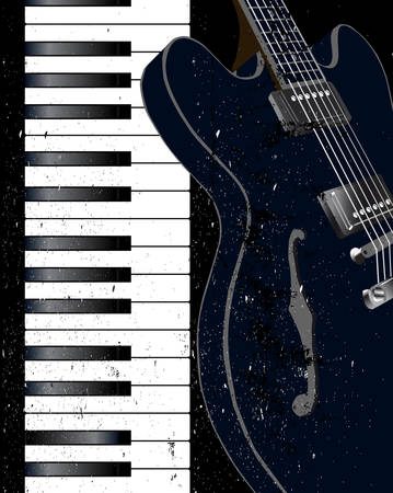 Black and white piano keys and electric guitar with a grunge jazz FX