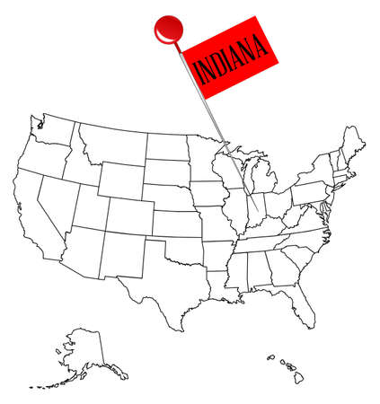 An Outline Map Of USA With A Knob Pin In The State Of Indiana - Usa outline