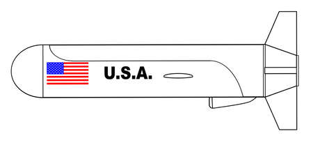A cruise missile outline drawing over a white background Illustration