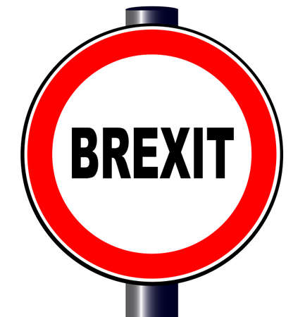 A large round red traffic sign displaying the UK and EU Brexit