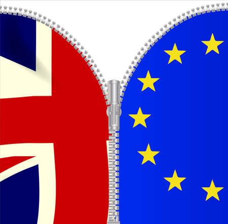 A brexit UK EU flag zipper on a white background